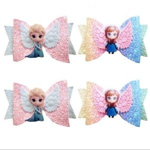 Frozen Elsa/Anna Cute Sparkly Hair Clip Bow